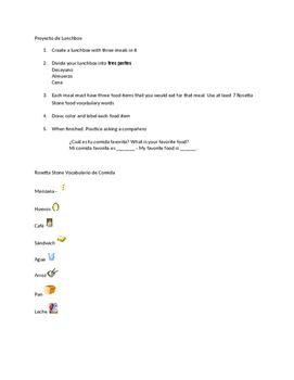 Lunchbox Activity - Food Vocabulary - Comida