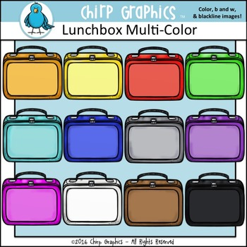 Lunchbox Multi-Color Clip Art Set - Chirp Graphics
