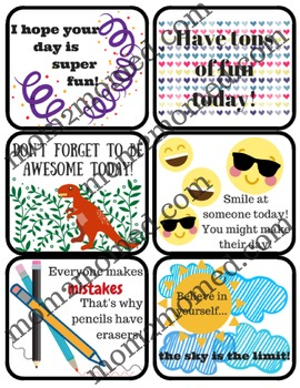 Lunchbox notes for kids, 21 printable notes