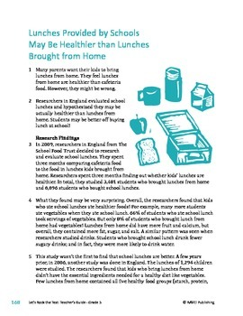 Lunches Provided By Schools May Be Healthier - Informational Text Test Prep