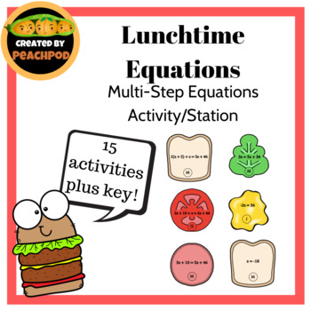 Lunchtime Equation:s Multi-step Equations Activity/Stations
