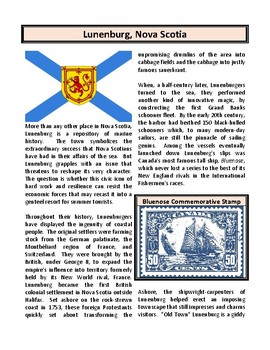 Lunenburg, Nova Scotia (UNESCO Site) - Reading Comprehension and Substitute Plan
