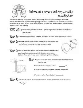 Lung Capacity Sphere Volume STEM Task