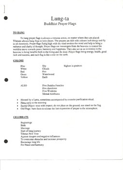 Lung -ta Buddist Prayer Flags Handout (Page 1)