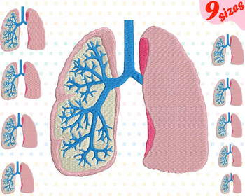 Lungs Embroidery Design Machine science school hospital biology Medic 167b