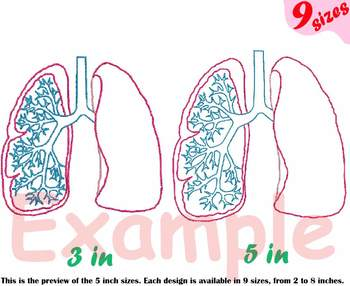 Lungs Outline Embroidery Design Machine biology Medic Organs Anatomy 203b