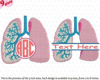 Lungs Split & Circle Embroidery Design Medic Organs Anatomy Frame science 231b