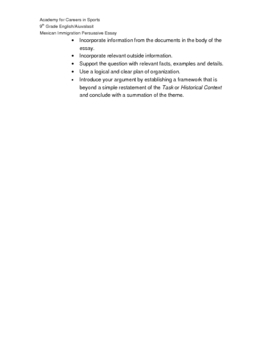 Lupita Manana: Document Based Essay Assignment