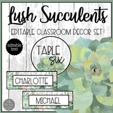 Lush Succulents EDITABLE Table Signs and Name Plates