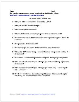 Lusitania: World War I Primary Source Worksheet