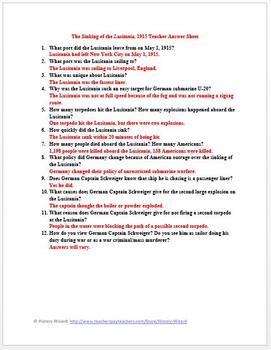 Lusitania World War I Primary Source Worksheet By History Wizard