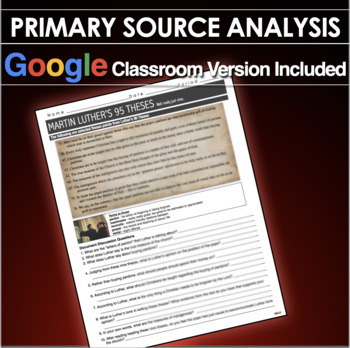 Luthers 95 Theses Primary Source Worksheet Renaissance Reformation