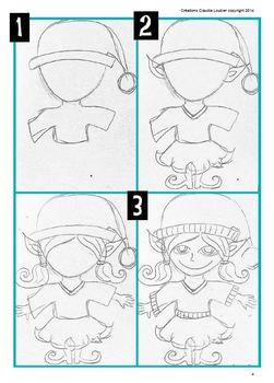 Noël: Arts plastiques: Lutins mignons, plan de cours en français, Noël, hiver