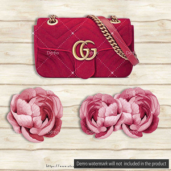 Luxury Bags, Glitter Dust and Ranunculus Flower Clip Arts
