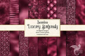 Luxury Burgundy Digital Paper, seamless metallic glitter textures