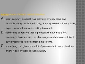 Luxury (ESL conversation)