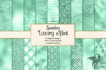 Luxury Mint digital paper textures