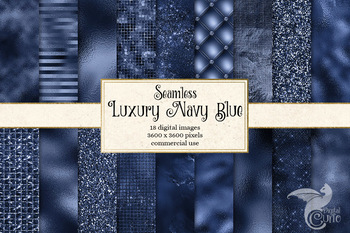 Luxury Navy Blue Digital Paper, seamless glitter and foil textures