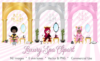 Luxury Spa Day Clipart, spa day clip art vectors, beauty salon cosmetics PNG