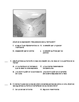 5th Grade Spanish Science Assessment - Luz, fuerza y cambios terrestres