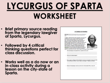 Lycurgus of Sparta - Ancient Greece - Global/World History