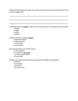 Lyddie Chapter 1 Quick Quiz Pages 4-7