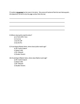 Lyddie Chapter 1 Quick Quiz Pages 7-9