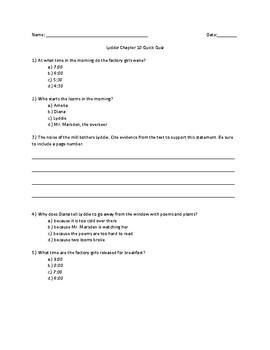 Lyddie Chapter 10 Quick Quiz