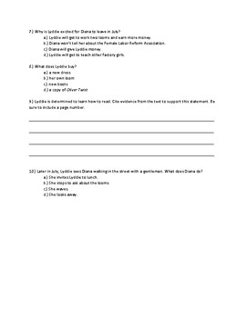 Lyddie Chapter 11 Quick Quiz