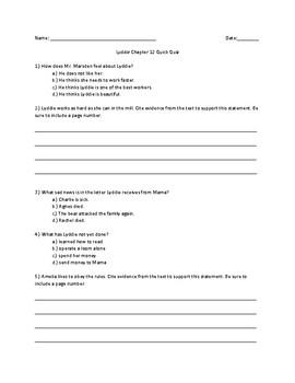 Lyddie Chapter 12 Quick Quiz