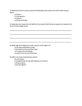 Lyddie Chapter 13 Quick Quiz