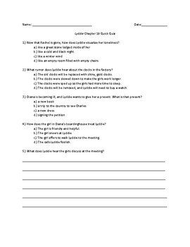 Lyddie Chapter 19 Quick Quiz
