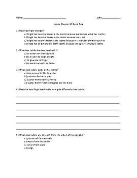 Lyddie Chapter 20 Quick Quiz
