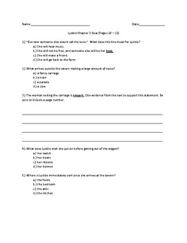 Lyddie Chapter 3 Quick Quiz Pages 18 - 21