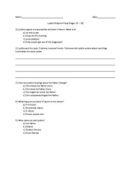 Lyddie Chapter 4 Pages 27-30 Quick Quiz