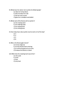Lyddie Chapter 8 Quick Quiz Pages 57 - 61
