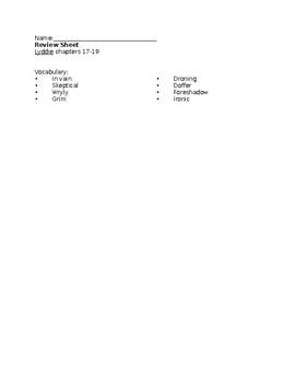 Lyddie Chapters 17-19 Test Bundle