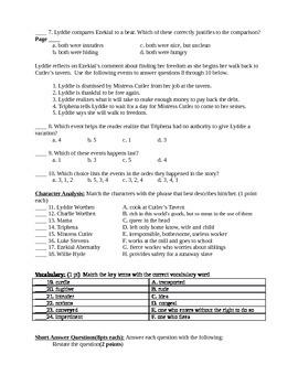 Lyddie Comprehension test Chapter 4-6