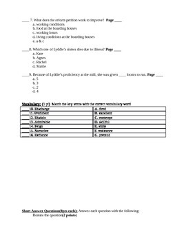 Lyddie Comprehension test chapters 10-12