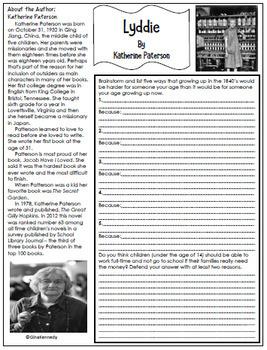 Lyddie Novel Study + Enrichment Project Menu