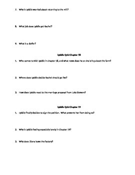 """Lyddie Novel Unit """"Quick Quizzes"""" for Chapters 14, 15, 16, 17, 18, & 19"""