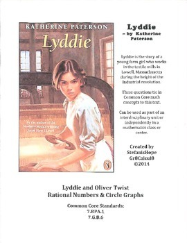 Lyddie and Oliver Twist (Rational Numbers, Circle Graphs) 7.RP.A.1, 7.G.B.6 ELA