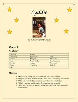 Lyddie by Karen Paterson - Vocabulary, Questions, Final Essay