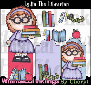Lydia the Librarian Library-Books Clipart Collection
