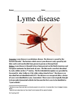 Lyme Disease lesson - history, symptoms, treatment, facts info review questions