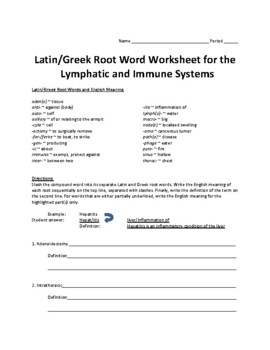 Lymphatic System Study Guide and Latin Root Word Conversion Activity Set