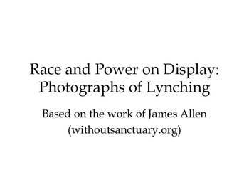 Lynching in the Progressive Era