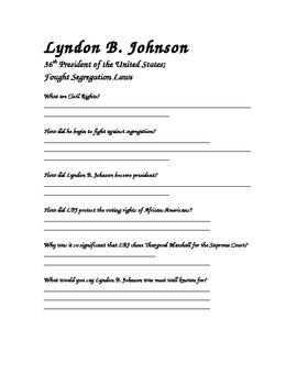 Lyndon B. Johnson CRCT Review Worksheet