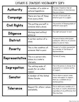 Lyndon B. Johnson {Interactive Vocabulary Sort}