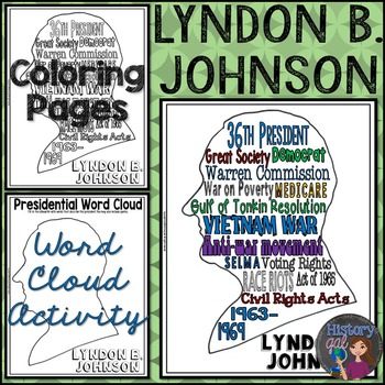 Lyndon B. Johnson (LBJ) Coloring Page and Word Cloud Activity